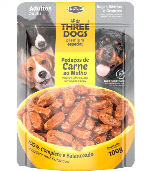 SACHET THREE DOGS ORIGINAL - ADULTOS RAZAS MEDIANAS Y GRANDES